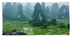 The Beautiful Karst Rural Scenery In Spring Bath Towel