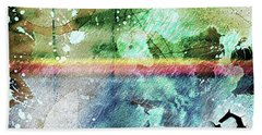 4b Abstract Expressionism Digital Collage Art Bath Towel