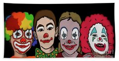 Hand Towel featuring the digital art 4happy Clowns by Megan Dirsa-DuBois