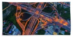 Hand Towel featuring the photograph Aerial View Of Traffic Jams At Nonthaburi Intersection In The Evening, Bangkok. by Pradeep Raja PRINTS