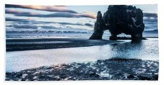Dinosaur Rock Beach In Iceland Hand Towel