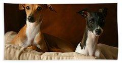 Italian Greyhounds Bath Towel by Angela Rath