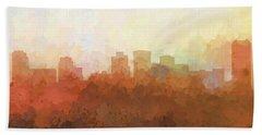 Hand Towel featuring the digital art Norfolk Virginia Skyline by Marlene Watson