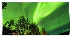 Northern Lights, Aurora Borealis At Kantishna Lodge In Denali National Park Hand Towel