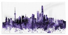 Shanghai China Skyline Hand Towel
