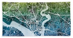 Southampton England City Map Hand Towel