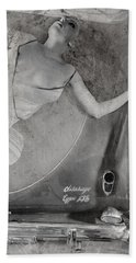 Hand Towel featuring the photograph The Girl On The Background Of Vintage Car. by Andrey  Godyaykin