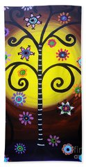 Bath Towel featuring the painting Tree Of Life by Pristine Cartera Turkus