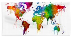 Watercolor Map Of The World Map Bath Towel