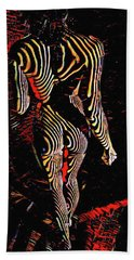 5360s-mak Abstract Zebra Striped Woman Strong Shoulders Bath Towel