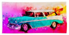 56 Chevy Nomad By The Sea In The Morning With Vivachas Hand Towel