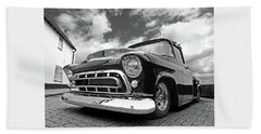 57 Stepside Chevy In Black And White Bath Towel