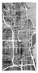 Chicago City Street Map Hand Towel