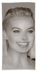 Hollywood Star Margot Robbie Hand Towel by Best Actors