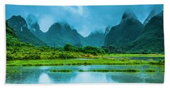 Karst Rural Scenery In Raining Bath Towel