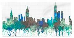 Hand Towel featuring the digital art New York Ny Skyline by Marlene Watson