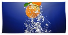 Orange Splash Bath Towel by Marvin Blaine