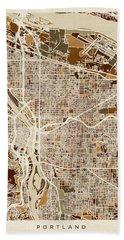 Bath Towel featuring the digital art Portland Oregon City Map by Michael Tompsett