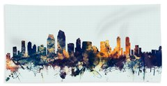 San Diego California Skyline Hand Towel by Michael Tompsett