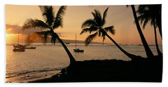 Silhouette Of Palm Trees At Dusk Hand Towel