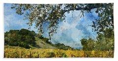 Vineyard In Napa Valley California Bath Towel