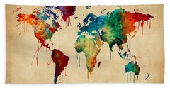 Watercolor Map Of The World Map Hand Towel
