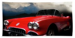 60 Corvette Roadster In Red Hand Towel