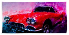 60 Red Corvette Watercolour Illustration Bath Towel