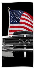 66 Mustang With U.s. Flag On Black Hand Towel