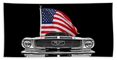 66 Mustang With U.s. Flag On Black Bath Towel by Gill Billington