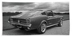 67 Fastback Mustang In Black And White Bath Towel by Gill Billington