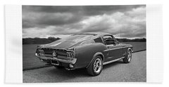 67 Fastback Mustang In Black And White Hand Towel