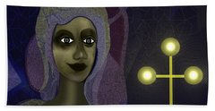 Bath Towel featuring the digital art 673 - Young Lady With Cross by Irmgard Schoendorf Welch