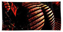 Hand Towel featuring the digital art 6799s-nlj Zebra Striped Nude Booty By Window Rendered As Abstract Oil In Reds by Chris Maher