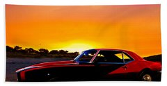 69 Camaro Up At Rocky Ridge For Sunset Hand Towel