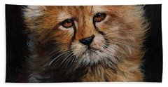 Cheetah Cub Bath Towel by David Stribbling