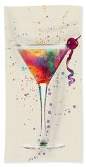 Cocktail Drinks Glass Watercolor Bath Towel