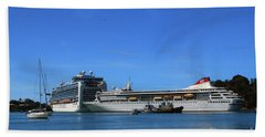 Hand Towel featuring the photograph Cruise Ship In Port by Gary Wonning