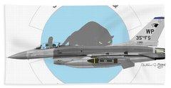 Hand Towel featuring the digital art Lockheed Martin F-16c Viper by Arthur Eggers