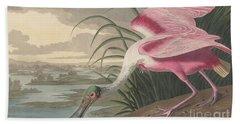 Roseate Spoonbill Hand Towel by John James Audubon