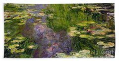 Waterlilies Hand Towel by Claude Monet
