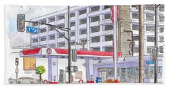 76 Gas Station In 3rd Street And Robertson Blvd, Beverly Hills, California Hand Towel