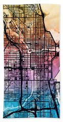 Chicago City Street Map Bath Towel