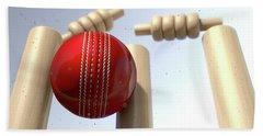 Cricket Ball Hitting Wickets Hand Towel by Allan Swart