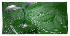 Macro Circuit Board With Futuristic Plant Hand Towel