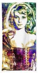 Hand Towel featuring the mixed media Michele Mercier by Svelby Art