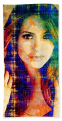 Nina Dobrev Bath Towel by Svelby Art