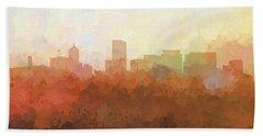 Hand Towel featuring the digital art Portland Oregon Skyline by Marlene Watson