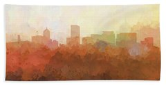 Bath Towel featuring the digital art Portland Oregon Skyline by Marlene Watson