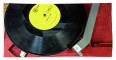 Bath Towel featuring the photograph 8 Rpm Record Player by Gary Slawsky